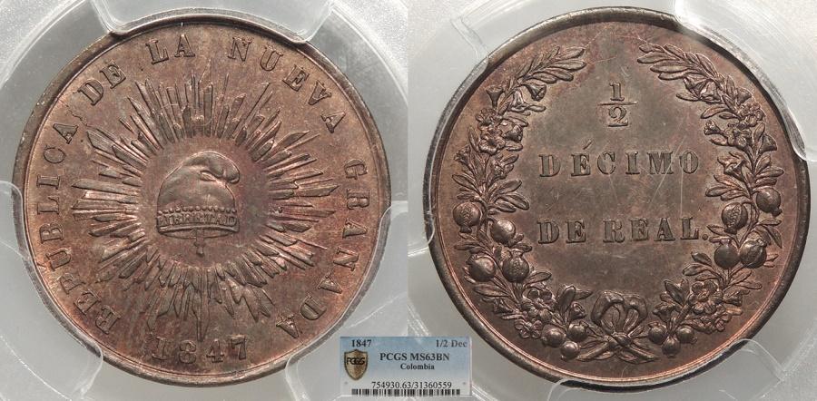 World Coins - COLOMBIA Nueva Granada 1847 1/2 Decimo De Real (1/20 Real) PCGS MS-63 BN