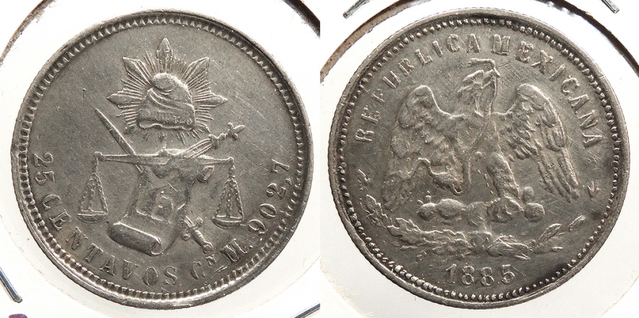 World Coins - MEXICO: Culiacan 1885/3?-Cn M Uncertain overdate 25 Centavos