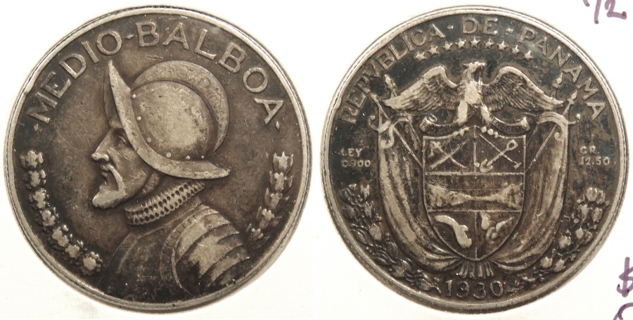 World Coins - PANAMA: 1930 1/2 Balboa #WC63501
