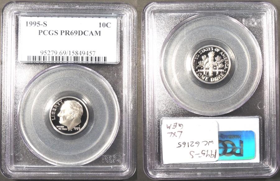 US Coins - 1995 S Roosevelt 10 Cents (Dime) PCGS PF-69 DCAM