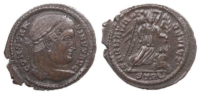Ancient Coins - Constantine I 307-337 A.D. Follis Trier (Treveri) Mint EF