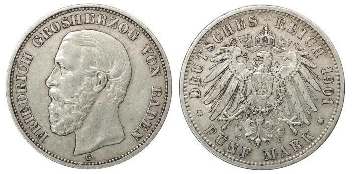 World Coins - GERMAN STATES Baden Friedrich I, Grand Duke 1901-G 5 Mark Good VF