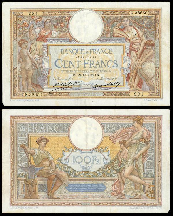 World Coins - FRANCE Banque de France 29 December 1932 100 Francs VF