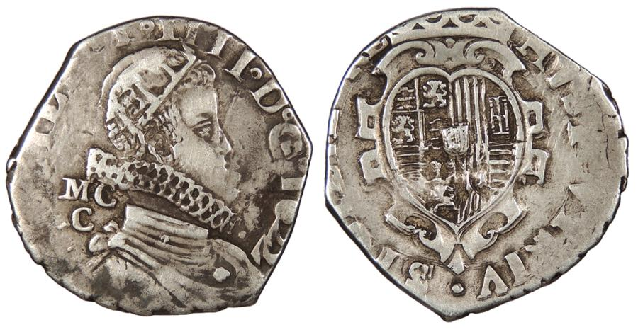 World Coins - ITALIAN STATES Kingdom of Naples Philip IV, of Spain 1622-MC/C Tari VF