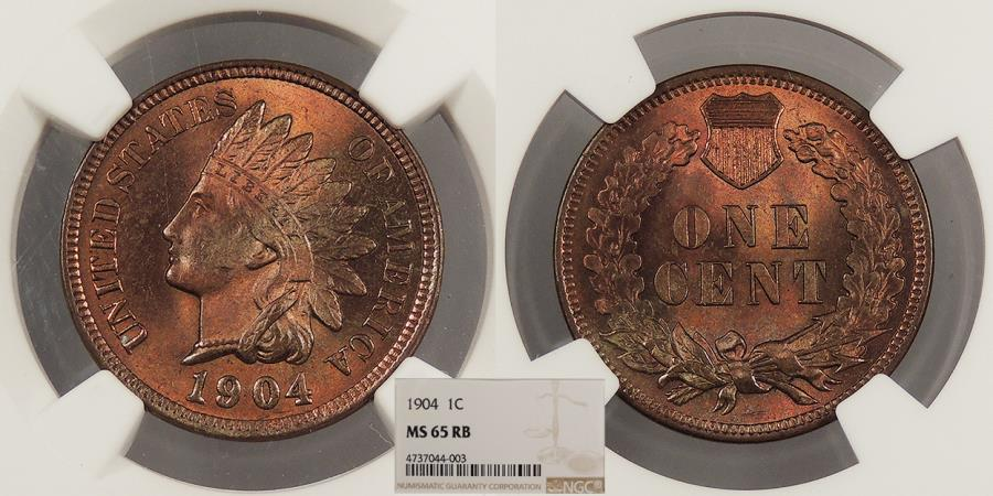 US Coins - 1904 Indian Head 1 Cent NGC MS-65 RB