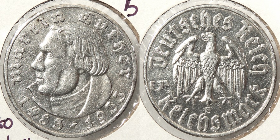 World Coins - GERMANY: Third Reich 1933-E Martin Luther - Key date 12,000 struck 5 Mark