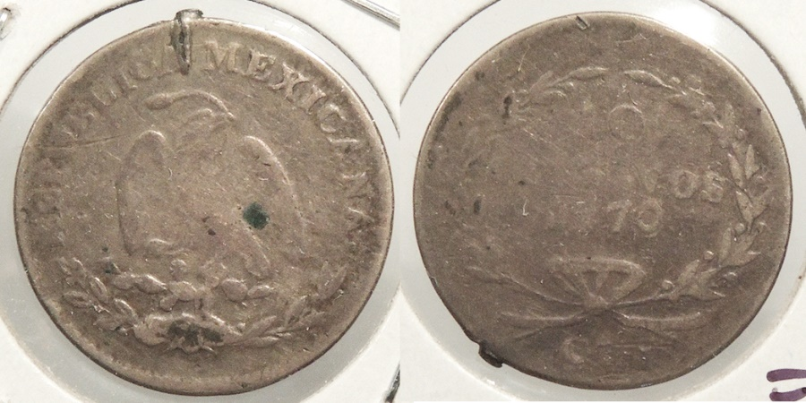 World Coins - MEXICO: Chihuahua 1870-Ca 17,400 struck. 10 Centavos #WC63499