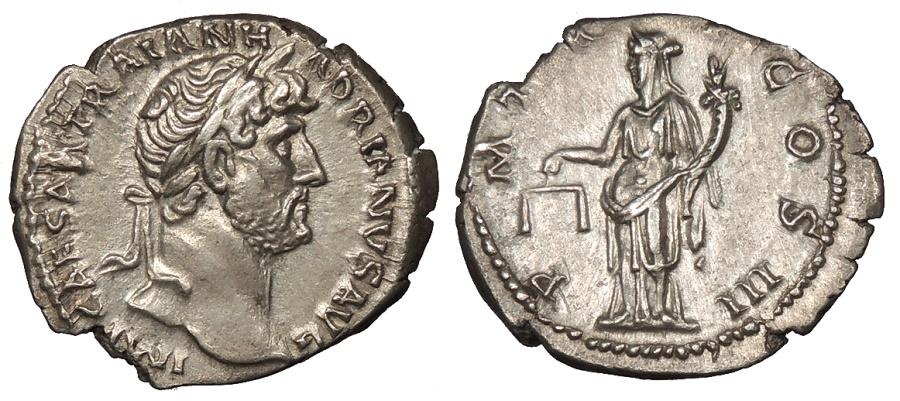 Ancient Coins - Hadrian 117-138 A.D. Denarius Rome Mint Near EF