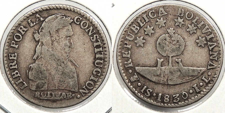 World Coins - BOLIVIA: 1830-PTS JL Sol