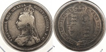 World Coins - GREAT BRITAIN: 1888/7 Overdate variety Shilling