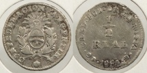 World Coins - ARGENTINA: La Rioja 1854-B 1/2 Real #WC63436