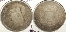 World Coins - VENEZUELA: 1902 5 Bolivares #WC63415