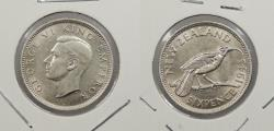 World Coins - NEW ZEALAND: 1943 George VI Sixpence