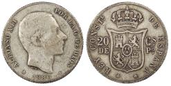 World Coins - PHILIPPINES Alfonso XII 1880 20 Centimos Near VF