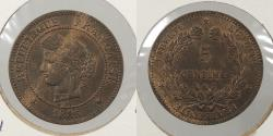 World Coins - FRANCE: 1885-A 5 Centimes