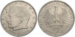 World Coins - GERMANY (WEST): 1964 G 2 Mark