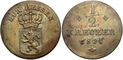World Coins - GERMANY: Hesse-Kassel 1824 1/2 Kreuzer