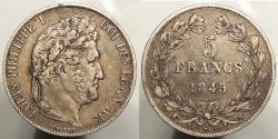 World Coins - FRANCE: 1845-W 5 Francs