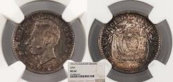World Coins - ECUADOR 1912-LIMA FG Decimo NGC MS-64