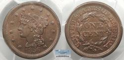Us Coins - 1856 Coronet 1 Cent Slanted 5 PCGS MS-64