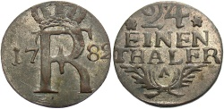World Coins - GERMAN STATES: Prussia 1782-A Contemporary counterfeit 1/24 Thaler