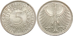 World Coins - GERMANY (WEST): 1965 F 5 Mark