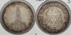 World Coins - GERMANY: 1935-A Potsdam Church. 5 Mark