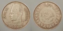 World Coins - EGYPT: 1937 / AH 1356 Farouk 10 Piastres