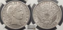 Us Coins - 1906 D Barber 50 Cents (Half Dollar) NGC AU-50