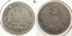 World Coins - MEXICO: 1873-Go S 25 Centavos