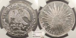World Coins - MEXICO 1854-Mo GC 8 Reales NGC MS-63+