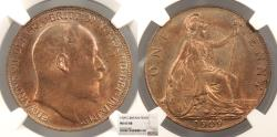 World Coins - GREAT BRITAIN Edward VII 1909 Penny NGC MS-63 RB
