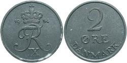 World Coins - DENMARK: 1954 2 Ore