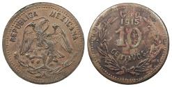 World Coins - MEXICO Guerrero Emiliano Zapata (General Salgado) 1915-GRO 10 Centavos AU