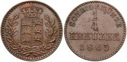 World Coins - GERMAN STATES: Wurttemberg 1865 1/4 Kreuzer