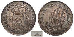 World Coins - NETHERLANDS EAST INDIES Batavian Republic 1802 1/4 Gulden NGC MS-66