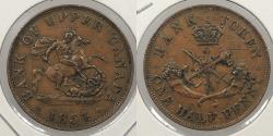 World Coins - CANADA: Upper Canada 1854 Crosslet '4' Halfpenny Token
