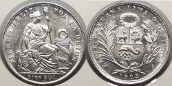World Coins - PERU: 1903 1/5 Sol