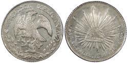 World Coins - MEXICO 1860-Mo TH 8 Reales Choice AU