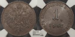 World Coins - ITALIAN STATES Lombardy-Venetia 1862-B Soldo NGC MS-63 BN