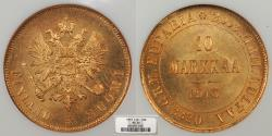 World Coins - FINLAND Nicholas II 1913-S 10 Markkaa NGC MS-66