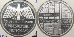 World Coins - GERMANY: 1975-F Europaisches Denkmalschutzjahr proof 5 Mark