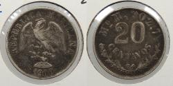 World Coins - MEXICO: 1900-Mo M 20 Centavos