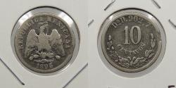 World Coins - MEXICO: 1895-Do D Small rim clip error. 10 Centavos