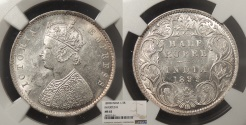 World Coins - INDIA Victoria 1899-B inverted 1/2 Rupee NGC MS-62