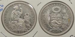 World Coins - PERU: 1908/7-LIMA FG Overdate. 1/2 Sol