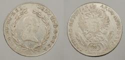 World Coins - AUSTRIA: 1791-F Rare date. 20 Kreuzer