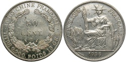 World Coins - FRENCH INDO-CHINA: 1936 50 Cents