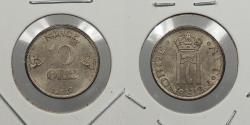 World Coins - NORWAY: 1919/7 Rare Overdate. 10 Ore