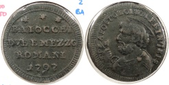 World Coins - ITALIAN STATES: Papal States 1797 Struck with roller dies. 2-1/2 Baiocchi
